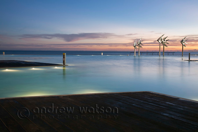 The Esplanade Lagoon at twilight.  Cairns, Queensland, Australia