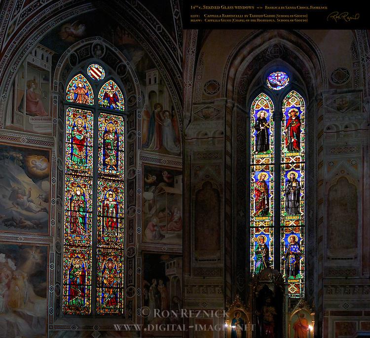 Stained Glass Windows 14th c Cappella Baroncelli Taddeo Gaddi Cappella Giusti School of Giotto Santa Croce Florence