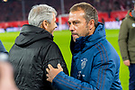 "09.11.2019, Allianz Arena, Muenchen, GER, 1.FBL,  FC Bayern Muenchen vs. Borussia Dortmund, DFL regulations prohibit any use of photographs as image sequences and/or quasi-video, im Bild Lucien Favre (Trainer BVB) mit Hans-Dieter ""Hansi"" Flick  (Cheftrainer FCB) <br /> <br />  Foto © nordphoto / Straubmeier"