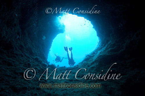 Looking up at divers and the sky through one of the entrances to Blue Holes, Palau Micronesia. (Photo by Matt Considine - Images of Asia Collection) (Matt Considine)