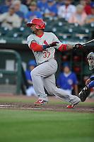 Memphis Redbirds Alberto Rosario (37) swings during the Pacific Coast League game against the Iowa Cubs at Principal Park on June 6, 2016 in Des Moines, Iowa.  Memphis won 6-2.  (Dennis Hubbard/Four Seam Images)