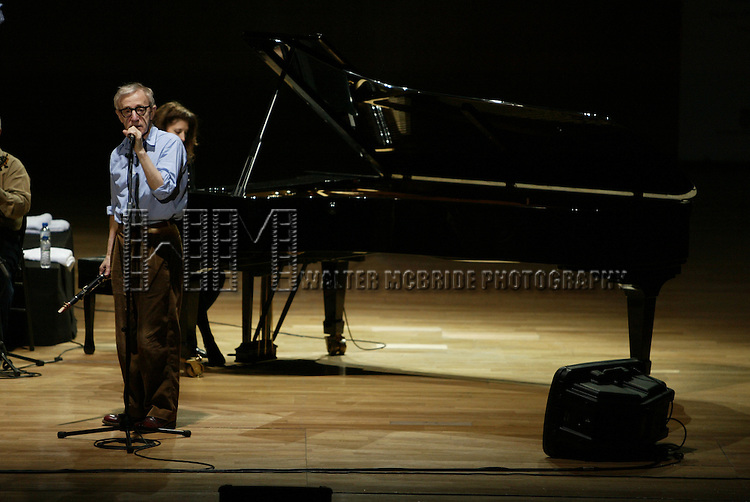 Woody Allen performing  for a Sold-Out Concert 1500 seats at the Auditorio Principe Felipe with his New Orleans Jazz Band..The Band: Woody Allen (Clarinet), Eddy Davis (Banjo, Musical Director), Conal Fowkes (Double Bass), Robert Garcia (Drums), Cynthia Sayer (Piano), Simon Wettenhall (Horn) and Jerry Zigmont (Trombone).December 26, 2005.© Walter McBride /