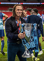 Wycombe Wanderers' manager Gareth Ainsworth holds the trophy <br /> <br /> Photographer Andrew Kearns/CameraSport<br /> <br /> Sky Bet League One Play Off Final - Oxford United v Wycombe Wanderers - Monday July 13th 2020 - Wembley Stadium - London<br /> <br /> World Copyright © 2020 CameraSport. All rights reserved. 43 Linden Ave. Countesthorpe. Leicester. England. LE8 5PG - Tel: +44 (0) 116 277 4147 - admin@camerasport.com - www.camerasport.com