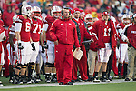 Wisconsin Badgers Head Coach Bret Bielema looks on from the sidelines during an NCAA Big Ten Conference college football game against the Penn State Nittany Lions on November 26, 2011 in Madison, Wisconsin. The Badgers won 45-7. (Photo by David Stluka)