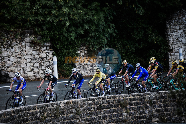 The peloton led by Deceuninck-Quick Step with Yellow Jersey Julian Alaphilippe during Stage 3 of Tour de France 2020, running 198km from Nice to Sisteron, France. 31st August 2020.<br /> Picture: ASO/Pauline Ballet | Cyclefile<br /> All photos usage must carry mandatory copyright credit (© Cyclefile | ASO/Pauline Ballet)