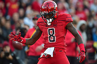 College Park, MD - NOV 12, 2016: Maryland Terrapins wide receiver Levern Jacobs (8) is fired up after a big catch during game between Maryland and Ohio State at Capital One Field at Maryland Stadium in College Park, MD. (Photo by Phil Peters/Media Images International)