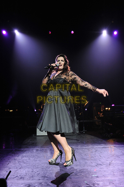 Jodie Prenger.Vintage 2011 at Royal Festival Hall, London, England, UK..July 31st, 2011.stage concert live gig performance music full length black lace dress singing arm .CAP/MAR.© Martin Harris/Capital Pictures.