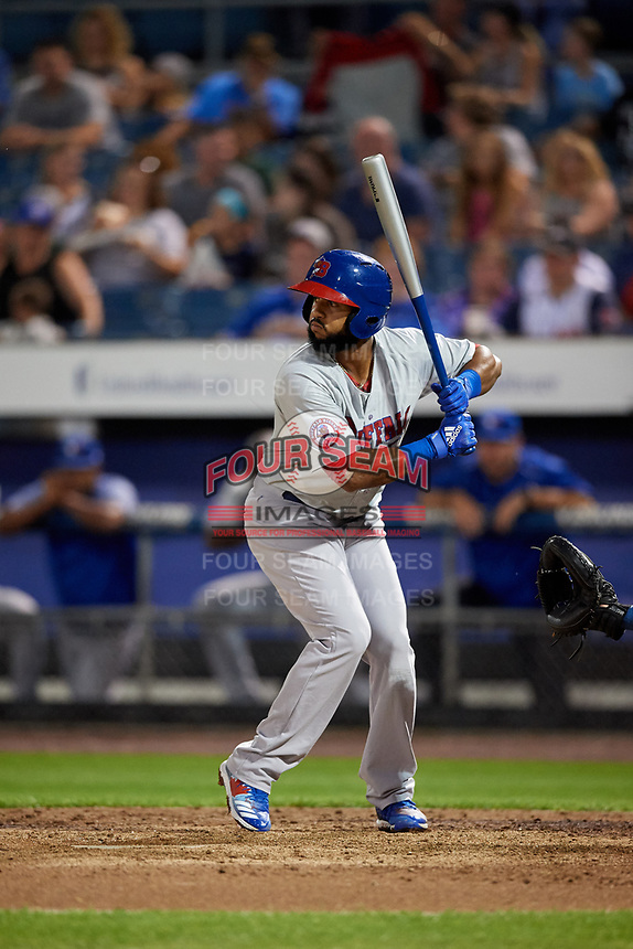 Buffalo Bisons shortstop Richard Urena (8) at bat during a game against the Syracuse Chiefs on September 2, 2018 at NBT Bank Stadium in Syracuse, New York.  Syracuse defeated Buffalo 4-3.  (Mike Janes/Four Seam Images)