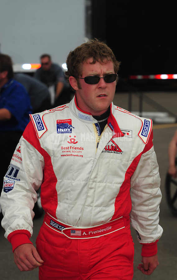 Jun. 20, 2008; Newton, IA, USA; Indy Light Series driver Andrew Prendeville during qualifying for the Jeld Wen 100 at the Iowa Speedway. Mandatory Credit: Mark J. Rebilas-