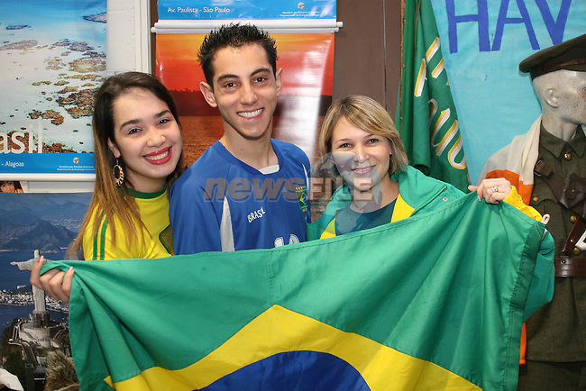 Jomara Ramos, Joao Ribeiro and Quezia Rocha from Brazil at the Multicultural Day at DIFE...Photo NEWSFILE/Jenny Matthews.(Photo credit should read Jenny Matthews/NEWSFILE)....This Picture has been sent you under the condtions enclosed by:.Newsfile Ltd..The Studio,.Millmount Abbey,.Drogheda,.Co Meath..Ireland..Tel: +353(0)41-9871240.Fax: +353(0)41-9871260.GSM: +353(0)86-2500958.email: pictures@newsfile.ie.www.newsfile.ie.FTP: 193.120.102.198.