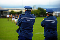 Police watch the 2017 Hurricanes Secondary Schools girls rugby union final between Manukura College and St Mary's College at Arena Manawatu in Palmerston North, New Zealand on Saturday, 2 September 2017. Photo: Dave Lintott / lintottphoto.co.nz
