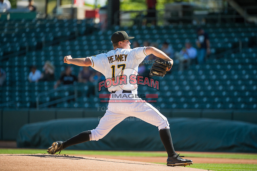 Salt Lake Bees starting pitcher Andrew Heaney (17) delivers a pitch to the plate against the Albuquerque Isotopes in Pacific Coast League action at Smith's Ballpark on June 8, 2015 in Salt Lake City, Utah.  (Stephen Smith/Four Seam Images)