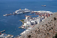 Cruise liner, Aurora, moored berthed in Gibraltar. Ref: 200211041238.<br />