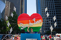 Share the Love, rainbow colored heart, Seattle Pride Parade 2016, Washington, USA.