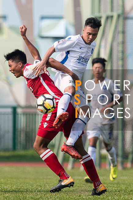 Hok Ming Lau of Kwoon Chung Southern (L) fights for the ball with Chuofeng Zhou R&F F.C (R) during the week three Premier League match between Kwoon Chung Southern and R&F at Aberdeen Sports Ground on September 16, 2017 in Hong Kong, China. Photo by Marcio Rodrigo Machado / Power Sport Images