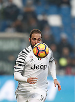 Calcio, Serie A: Sassuolo vs Juventus. Reggio Emilia, Mapei Stadium, 29 gennaio 2017. <br /> Juventus&rsquo; Gonzalo Higuain in action during the Italian Serie A football match between Sassuolo and Juventus at Reggio Emilia's Mapei stadium, 29 January 2017<br /> UPDATE IMAGES PRESS/Isabella Bonotto