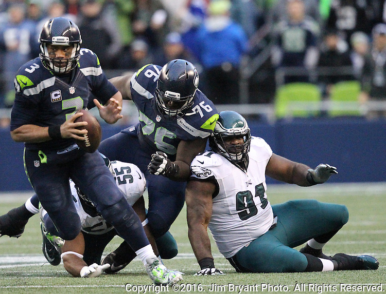 Seattle Seahawks quarterback Russell Wilson (3) scrambles against the Philadelphia Eagles<br /> at CenturyLink Field in Seattle, Washington on November 20, 2016.  Seahawks beat the Eagles 26-15.  &copy;2016. Jim Bryant Photo. All Rights Reserved.