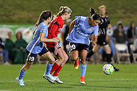 Piscataway, NJ - Sunday Sept. 25, 2016: Kelley O'Hara, Allie Long, Samantha Kerr during a regular season National Women's Soccer League (NWSL) match between Sky Blue FC and the Portland Thorns FC at Yurcak Field.