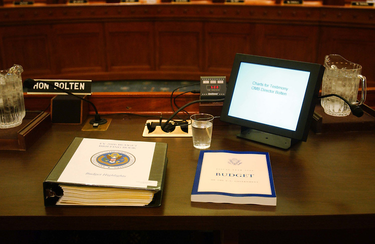 02/09/05.HOUSE WAYS AND MEANS--White House budget chief Joshua B. Bolten's place at the witness table waits for him before a House Ways and Means hearing on the president's fiscal 2006 budget proposal..CONGRESSIONAL QUARTERLY PHOTO BY SCOTT J. FERRELL