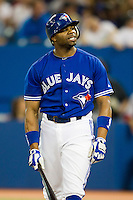 Toronto Blue Jays pitcher Rajai Davis #11 during an American League game against the Boston Red Sox at Rogers Centre on June 3, 2012 in Toronto, Ontario.  (Mike Janes/Four Seam Images)