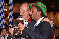 """--- NO TABLOIDS, NO WEB SITE --- Le Prince Albert II de Monaco, ‡ gauche, et Pierre Frolla participent ‡ la soirÈe d'ouverture de la 11Ëme Èdition de l'Oktoberfest au CafÈ de Paris le 14 octobre 2016. La SociÈtÈ des Bains de Mer cÈlËbre """"Oktoberfest"""" selon la pure tradition bavaroise, en partenariat avec la brasserie Weihenstephan, biËre munichoise. Les dinners se dÈroulent sous le chapiteau installÈ et†dÈcorÈ pour loccasion du 14 au 23 octobre 2016."""