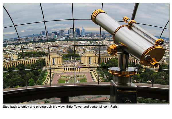 Step back and make a composition that invites the viewer into the image, so they can imagine being there. Telescopes are personal icons, I make it a point to add them to my images because they often work. The wire fencing acts an an overhead frame and helps diminish a cloudy sky. <br />