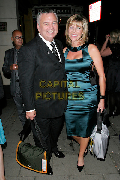 EAMONN HOLMES & RUTH LANGSFORD.Leaving the TV Quick & TV Choice 2008 Awards, Dorchester Hotel, London, England..full length black dress green silk satin dress bag suit.CAP/AH.©Adam Houghton/Capital Pictures.