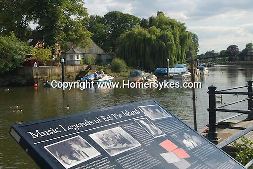 Eel Pie island. Music Legends of Eel Pie Island sign. Twickenham Middlesex. England.