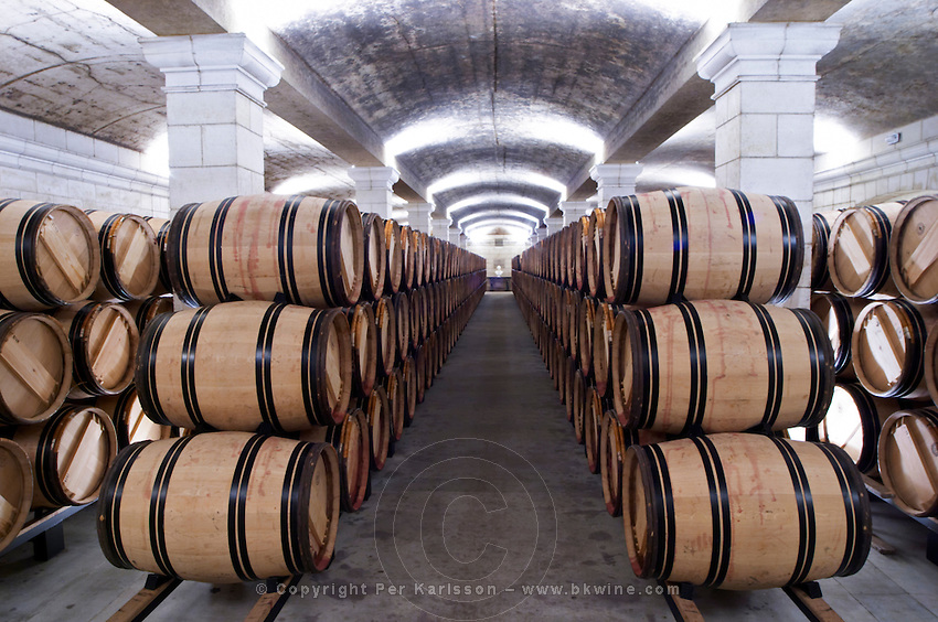 barrel aging cellar chateau haut brion pessac leognan graves bordeaux france