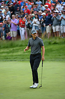 Jordan Spieth (USA) sinks his putt on 5 during round 4 of the 2019 PGA Championship, Bethpage Black Golf Course, New York, New York,  USA. 5/19/2019.<br /> Picture: Golffile | Ken Murray<br /> <br /> <br /> All photo usage must carry mandatory copyright credit (© Golffile | Ken Murray)