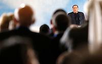 L'ex presidente del consiglio ed ex senatore Silvio Berlusconi parla al comizio per il lancio dei Club Forza Silvio a Roma, 8 dicembre 2013.<br /> Former Italian Premier and former senator Silvio Berlusconi speaks during a rally to present the Clubs Forza Silvio (Go Silvio) in Rome, 8 December 2013.<br /> UPDATE IMAGES PRESS/Riccardo De Luca