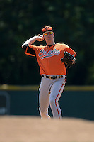 Baltimore Orioles Austin Pfeiffer (3) during a minor league spring training game against the Boston Red Sox on March 18, 2015 at the Buck O'Neil Complex in Sarasota, Florida.  (Mike Janes/Four Seam Images)
