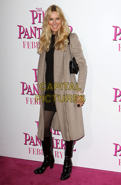 "ALANA STEWART.""The Pink Panther 2"" World Premiere held at the Ziegfeld Theater, New York, NY, USA..February 3rd, 2009.full length grey gray coat black dress bag purse patent boots shiny.CAP/ADM/PZ.©Paul Zimmerman/AdMedia/Capital Pictures."