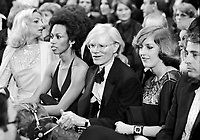 "Andy Warhol (center) and model, actress Donyale Luna (L) at ""Circus of the Stars,"" (CBS Special), Santa Monica Civic Auditorium, November, 1976. Photo by John G. Zimmerman"