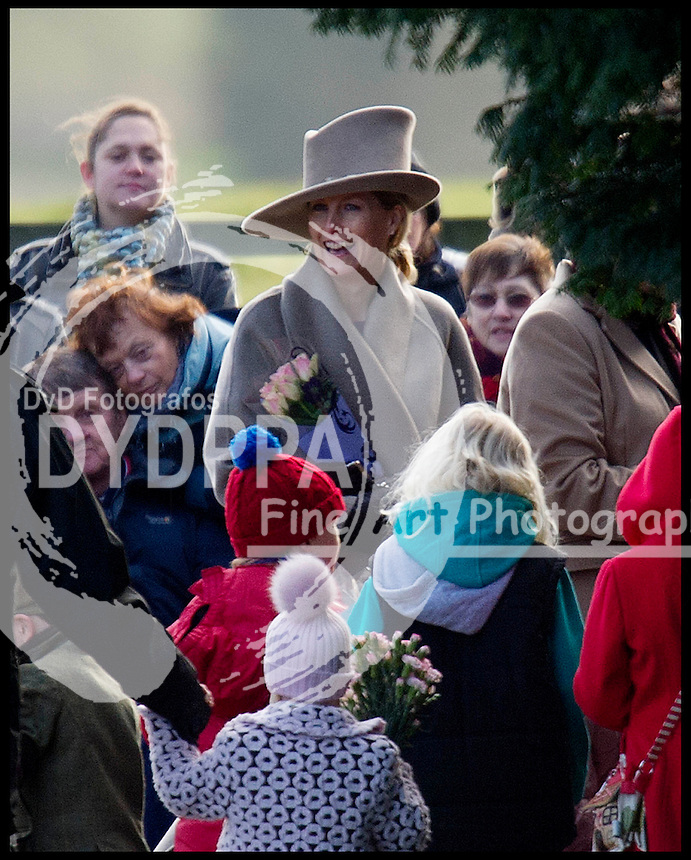 The Countess of Wessex joins HM The Queen at church on the Sandringham Estate, Sunday December 30, 2012. Photo: Andrew Parsons / i-Images / DyD Fotografos