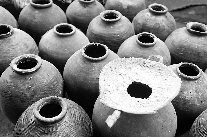 Black and White Photo of Distilling Homemade Whisky Rice Wine, Luang Prabang, Laos