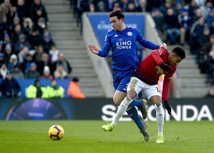 Manchester United's Jesse Lingard battles with Leicester City's Ben Chilwell<br /> <br /> Photographer Hannah Fountain/CameraSport<br /> <br /> The Premier League - Leicester City v Manchester United - Sunday 3rd February 2019 - King Power Stadium - Leicester<br /> <br /> World Copyright © 2019 CameraSport. All rights reserved. 43 Linden Ave. Countesthorpe. Leicester. England. LE8 5PG - Tel: +44 (0) 116 277 4147 - admin@camerasport.com - www.camerasport.com