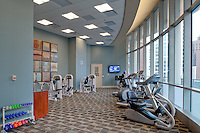 The fitness facility of The Clare, a luxurious highrise  retirement community located in Chicago's Gold Coast Area. Designed by  Perkins + Will, interior design provided by Interior Design Associates and erected by Lend Lease.