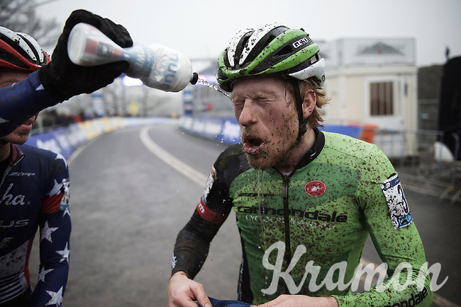 Stephen Hyde (USA/Cannondale-cyclocrossworld) getting a welcome 'shower' from Jeremy Powers post-race<br /> <br /> Grand Prix Adrie van der Poel, Hoogerheide 2016<br /> UCI CX World Cup