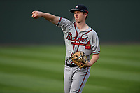 Catcher Alan Crowley (26) of the Rome Braves warms up before a game against the Greenville Drive on Saturday, April 14, 2018, at Fluor Field at the West End in Greenville, South Carolina. Rome won, 4-0. (Tom Priddy/Four Seam Images)