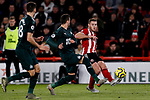 Jack O'Connell of Sheffield United crosses the ball during the Premier League match at Bramall Lane, Sheffield. Picture date: 5th December 2019. Picture credit should read: James Wilson/Sportimage