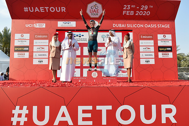 Veljko Stojnic wears the Black Jersey at the end of Stage 1 of the UAE Tour 2020 running 148km from The Pointe to Dubai Silicon Oasis, Dubai. 23rd February 2020.<br /> Picture: LaPresse/Massimo Paolone | Cyclefile<br /> <br /> All photos usage must carry mandatory copyright credit (© Cyclefile | LaPresse/Massimo Paolone)