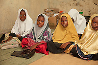 Zanzibar, Tanzania.  Young Girls in Madrassa (Koranic School).