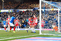 Omar Bogle of Portsmouth left scores the equaliser to make the score 1-1 during Portsmouth vs Doncaster Rovers, Sky Bet EFL League 1 Football at Fratton Park on 2nd February 2019