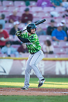 Eugene Emeralds second baseman Levi Jordan (20) at bat during a Northwest League game against the Salem-Keizer Volcanoes at Volcanoes Stadium on August 31, 2018 in Keizer, Oregon. The Eugene Emeralds defeated the Salem-Keizer Volcanoes by a score of 7-3. (Zachary Lucy/Four Seam Images)
