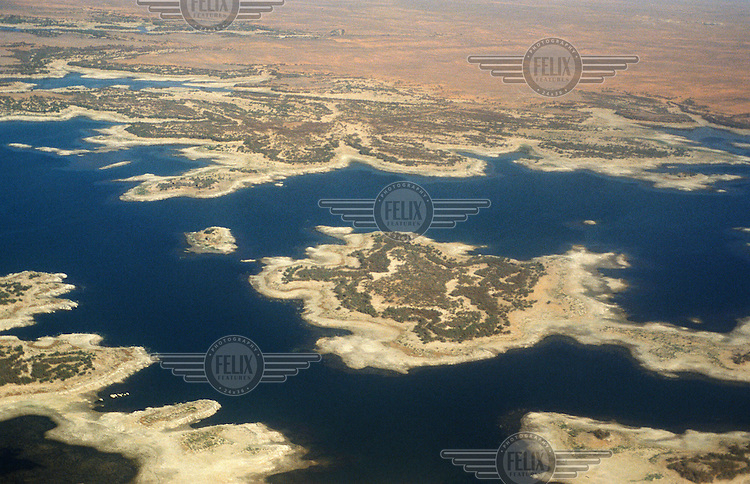 Lake Nasser, the world's largest reservoir, which extends up to almost 500km from the Aswan High Dam (Al-Sadd al-Ali) on the River Nile.