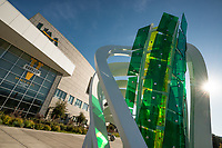 "UAA's Alaska Airlines Center and the Osman Akan sculpture ""Lucerna."""