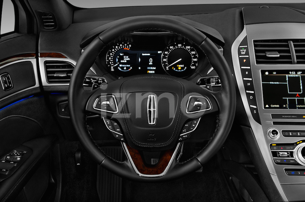 Car pictures of steering wheel view of a 2017 Lincoln MKZ Reserve 4 Door Sedan Steering Wheel