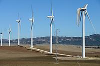 Spain, Andalusia, wind farm on cattle farm between Cadiz and Tarifa, damaged rotor blade at wind turbine