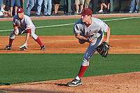 HOUSTON, TEXAS-Feb. 18, 2011: Mark Appel, Stanford's starting pitcher,  delivers another pitch during the game at Rice, with Stephen Piscotty at third base.  Stanford defeated Rice University 5-3.